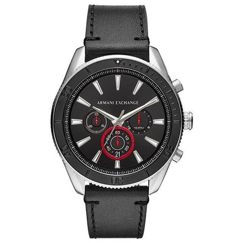 The Enzo AX1817 men's watch from Armani Exchange with its classic cut and the pop of color in red makes it the perfect accessory for all your looks. - www.choubrand.com