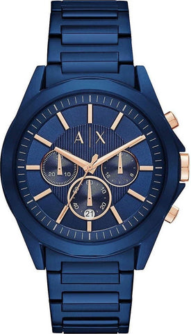 The AX2607 men's watch by Armani Exchange brings you the sleek and modern look that only Armani can pull off. An essential in everyone's collection to give a pop of color to your outfits!