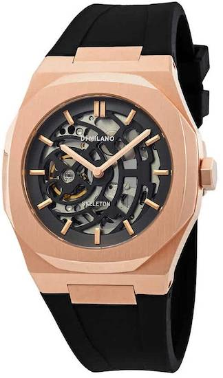 D1 MILANO: Skeleton D1-SKRJ03 in black and rose gold - www.choubrand.com