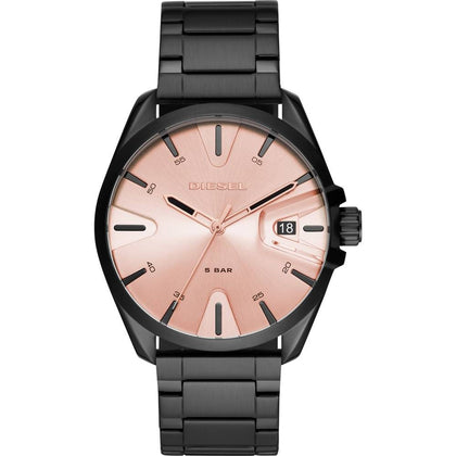 This beautiful MS9 DZ1904 men's watch by Diesel is a spectacular design made of stainless steel and lacquered in a classy black and combined with a rose gold dial to make you stand out. Modernity and elegance all in one. - www.choubrand.com