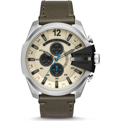 The Mega Chief DZ4464 men's watch by Diesel is a watch with a spectacular and original design, that with its interesting combination of khaki, silver and cream colors make this piece a sober but never boring bet that will be perfect to combine with any type of style. A must have in your wardrobe! - www.choubrand.com