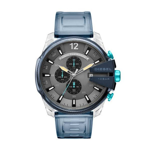 This original men's watch DZ4487 by Diesel will be the perfect choice to give a modern and colorful touch to your style. The case is made with a mix of plastic and resin and its combined with a light blue rubber strap to give that sporty and carefree look to this amazing watch.  - www.choubrand.com