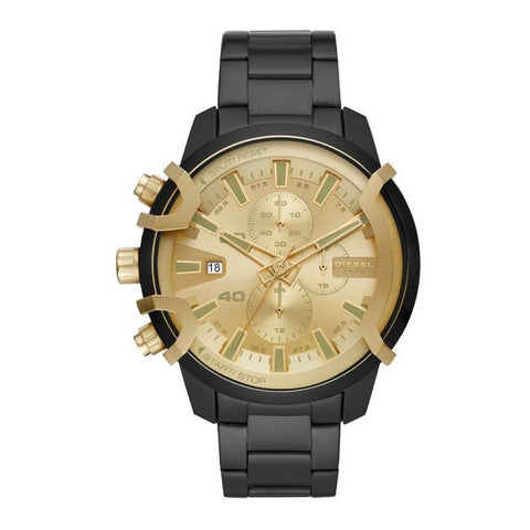 Dress up your watch collection with this bold men's watch GRIFFED DZ4525 by Diesel featuring the perfect combination of a gold dial and a sleek all black strap. | ChouBrand