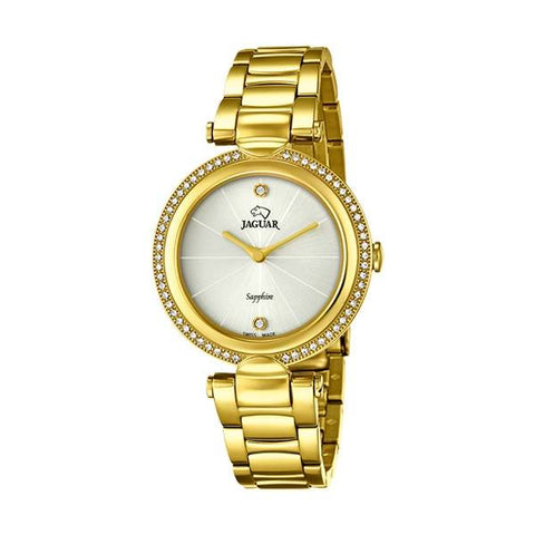 The J830/1 women's watch from the Cosmopolitan collection by Jaguar is a beautiful gold piece with circonites all around the case that radiates a vibe of luxury and exclusivity that only Jaguar with its swiss craftsmanship can achieve.  - ChouBrand
