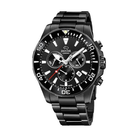 This J875/1 men's watch from the Executive collection by Jaguar is an all-black sleek watch with a modern and elegant cut that will go with every outfit. - ChouBrand