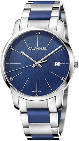 CALVIN KLEIN: Men's watch City K2G2G1VN in silver and blue - www.choubrand.com