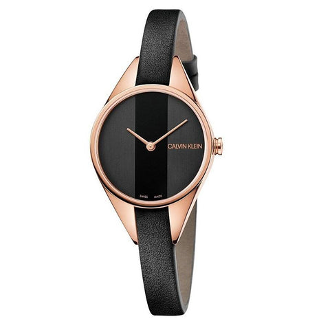 CALVIN KLEIN: Rebel K8P236C1 women's watch in black/rose gold - www.choubrand.com