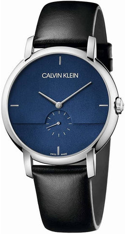 The modern K9H2X1CN men's watch by Calvin Klein's Established range with a striking navy blue dial and a black leather strap makes this piece the perfect choice to add a pop of color and elegance to all your outfits. - www.choubrand.com