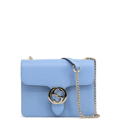 GUCCI: Small crossbody bag in baby blue with gold details - www.choubrand.com