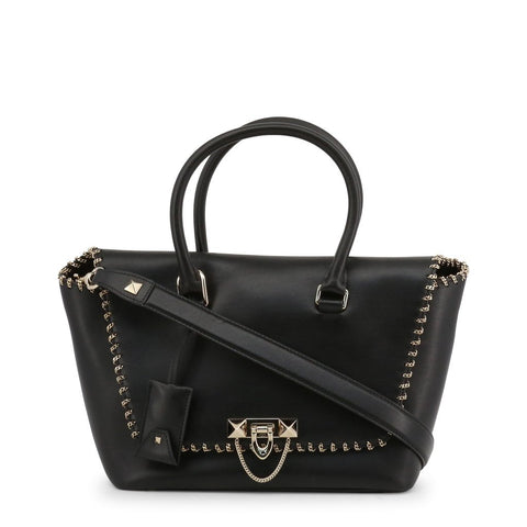 VALENTINO: Black handbag with metallic details