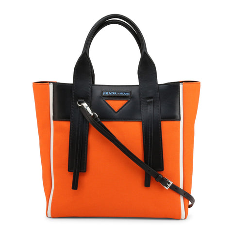 PRADA: Black and Orange 1BG233 CANAPA handbag