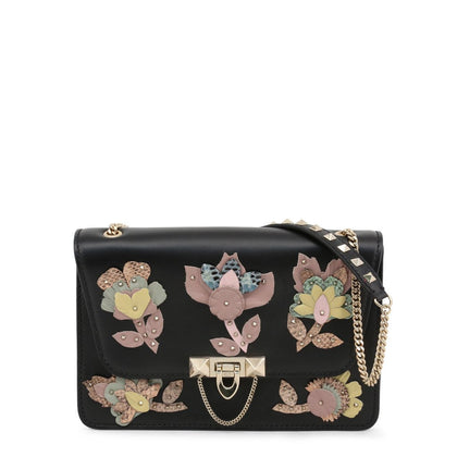 VALENTINO: Black crossbody bag with multicolor flowery details - www.choubrand.com