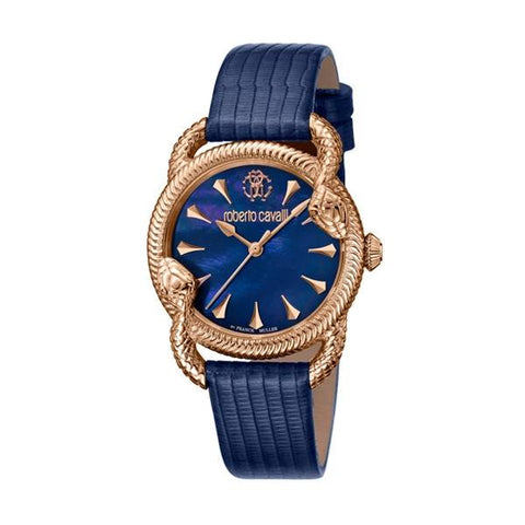 ROBERTO CAVALLI BY FRANCK MULLER: Women's watch RV1L072L0031 in rose gold and navy blue - www.choubrand.com