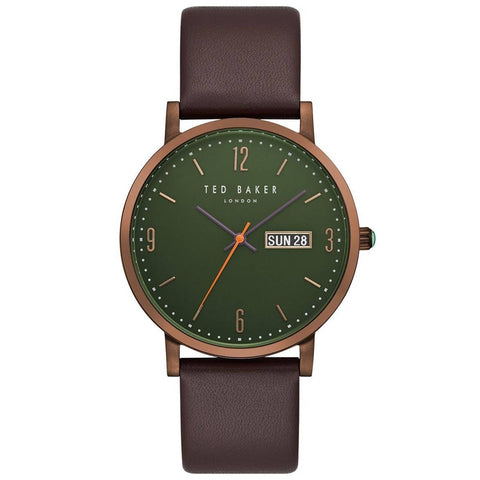 TED BAKER: Men's watch Grant TE15196009 in green/brown - www.choubrand.com