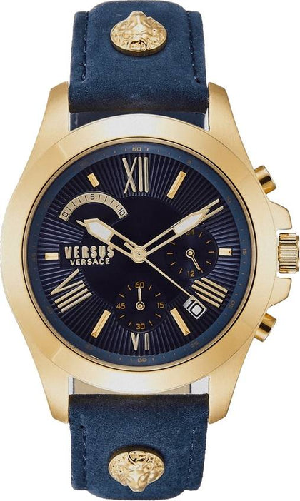 This beautiful Chrono Lion VSPBH1118 men's watch by Versus Versace is a precious and luxurious mix in blue and gold that will make you shine at any occasion and moment in your life. The detail of the brand's iconic medusas on the strap gives it that much needed extra unique touch. - www.choubrand.com