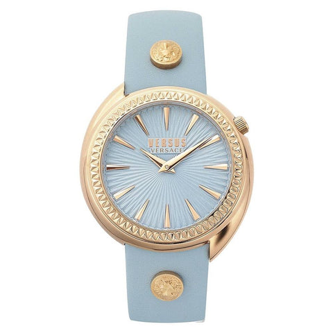 The perfect combination of baby blue and gold in this Tortona VSPHF0620 women's watch by Versus Versace will make you fall in love with this piece. - ChouBrand