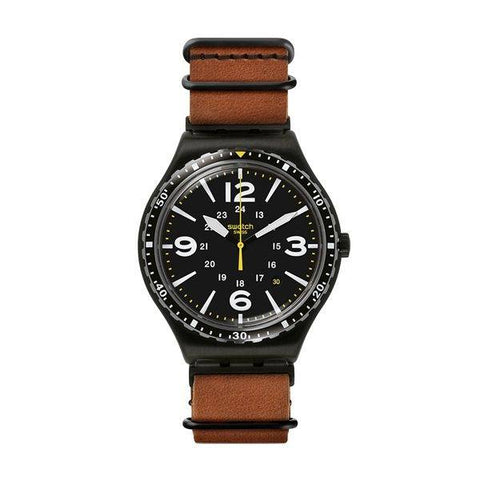 SWATCH: Men's watch YWB402 in brown and black - www.choubrand.com