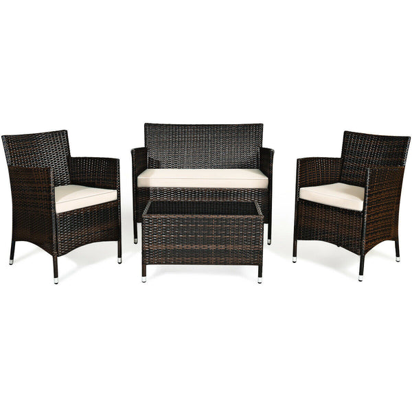 Summertime Staples™ Patio Furniture 4-Piece Set Outdoor Chairs, Table, and Sofa Loveseat