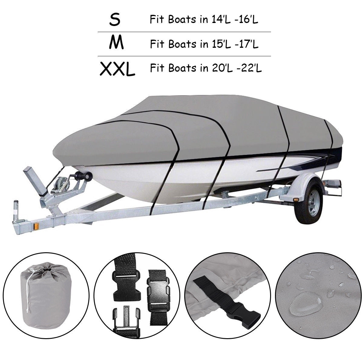 Summertime Staples™ Canvas Boat Cover Heavy Duty with Straps