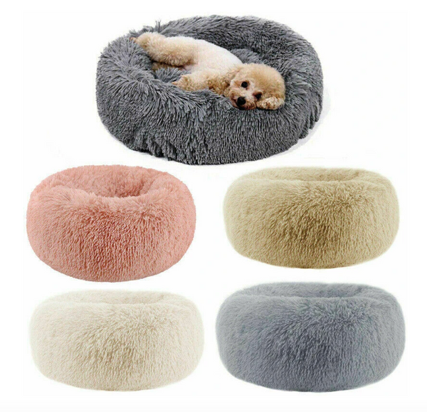 Happy Palz™ Cozy Dog Bed Shabby Chic Glam Soft Velvet Cat Bed Calming Cushion