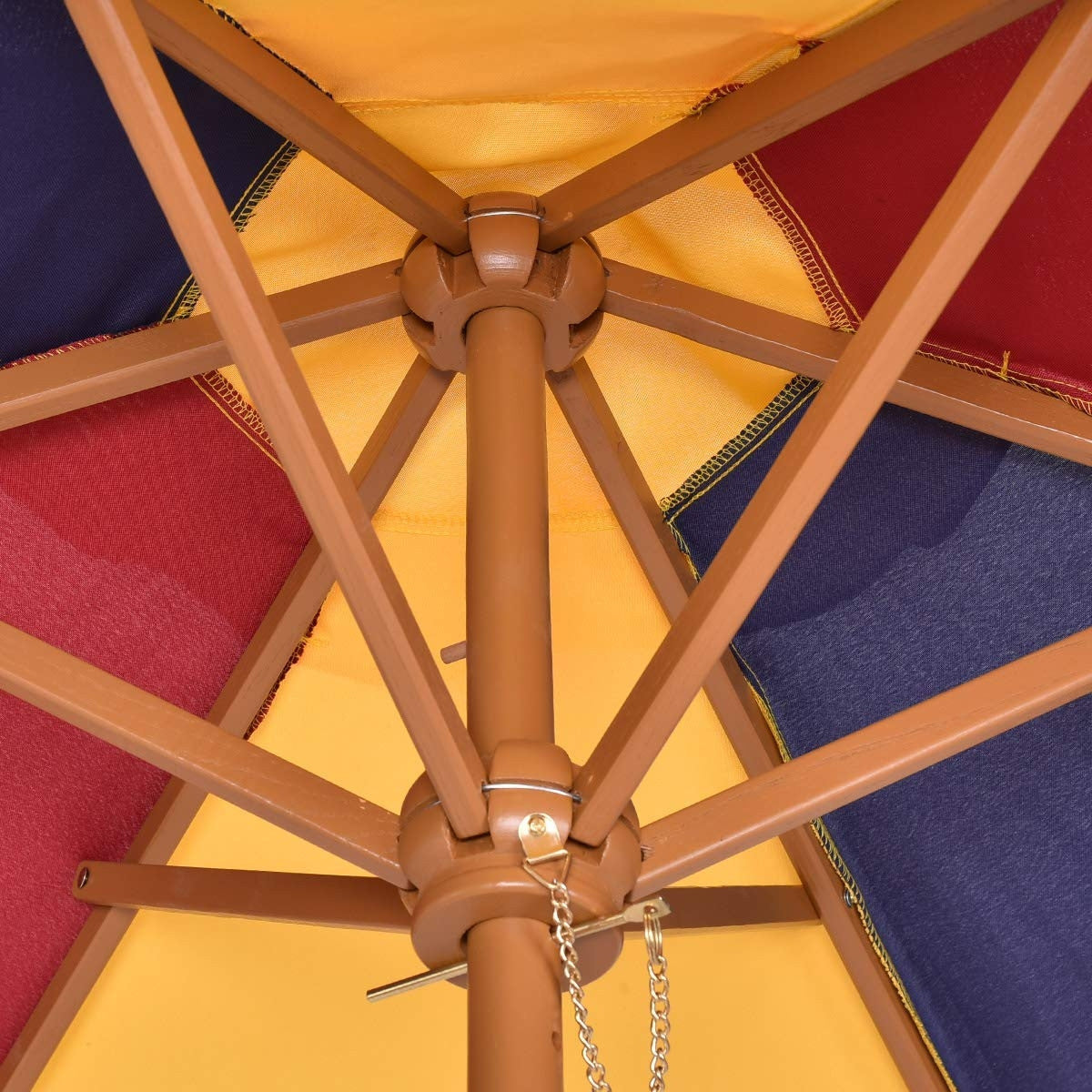Kids wooden picnic table umbrella