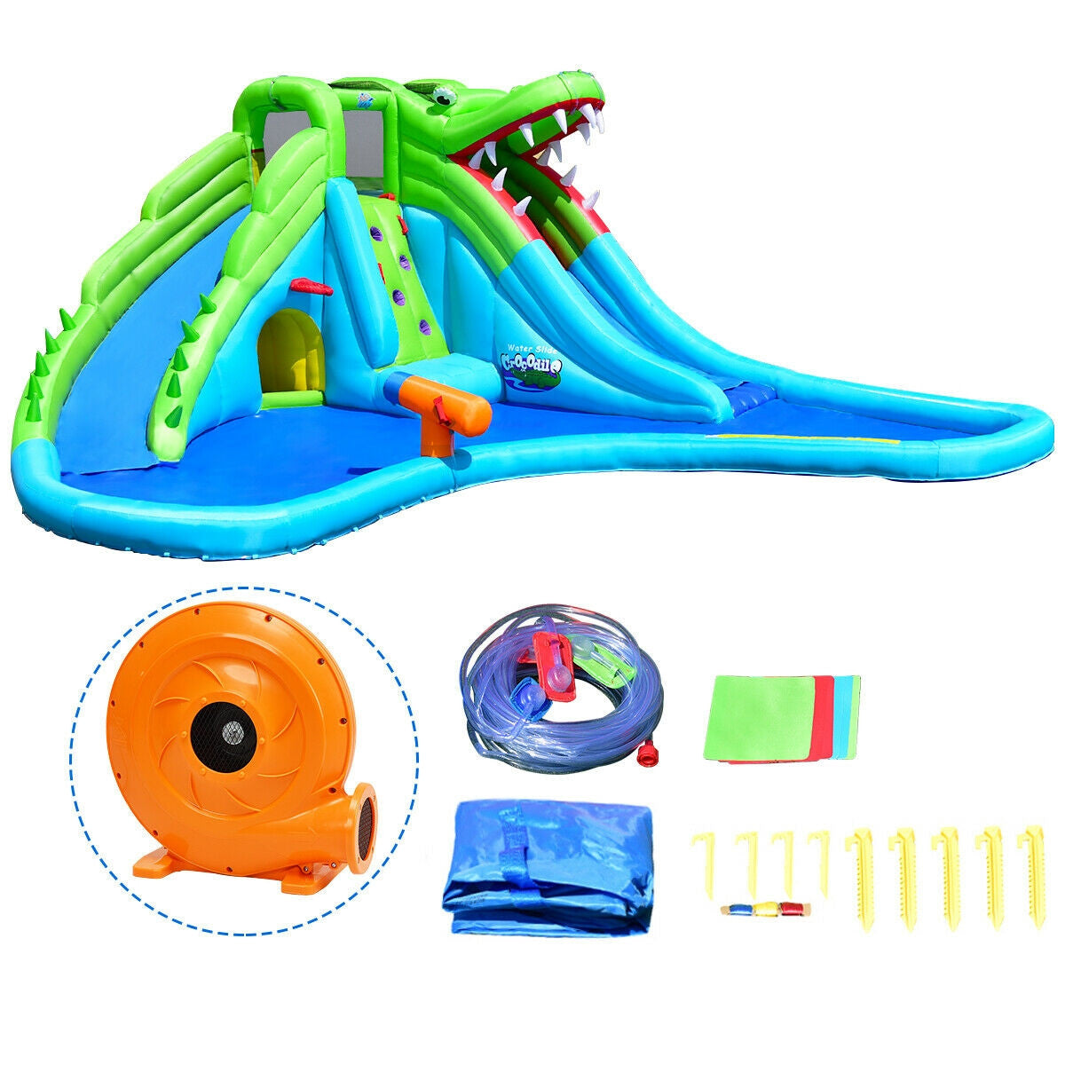 Inflatable Slide with Pool for Kids Bounce House includes blower and bag