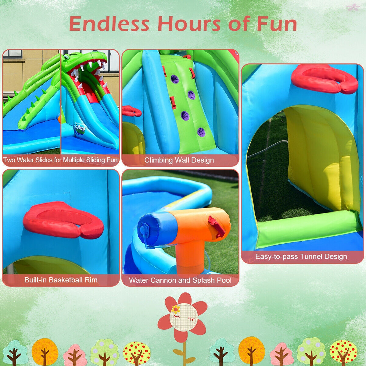Inflatable Slide with Pool for Kids Bounce House multiple play areas