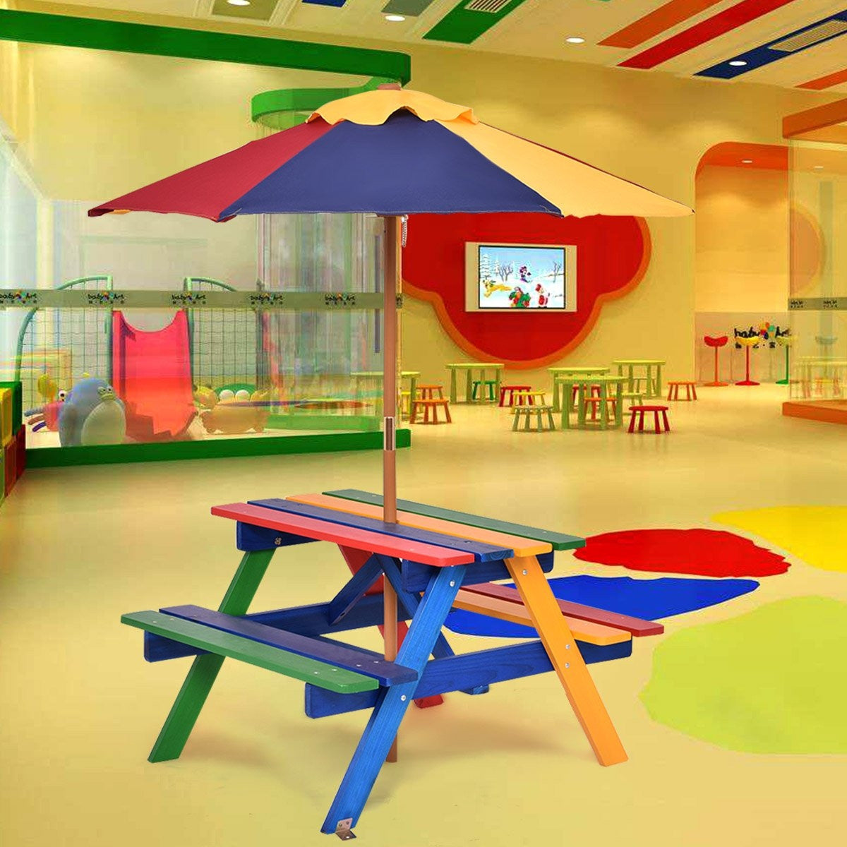 Kids wooden picnic table indoors