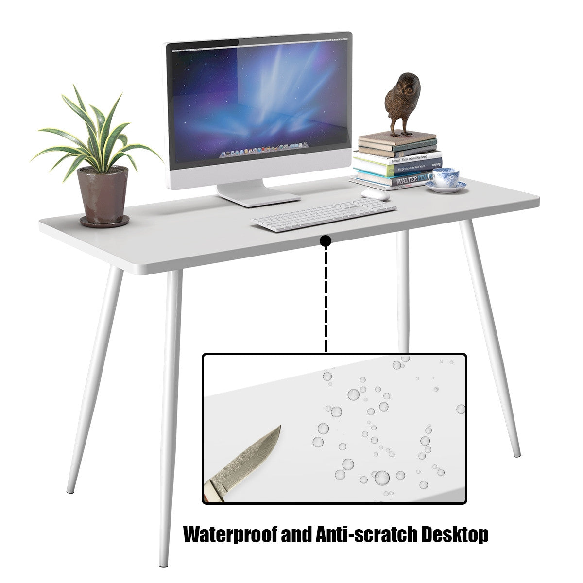 Writing Desk Small White Table Modern waterproof and scratch resistant