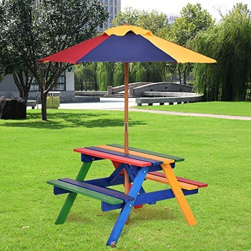 Kids wooden picnic table outdoors