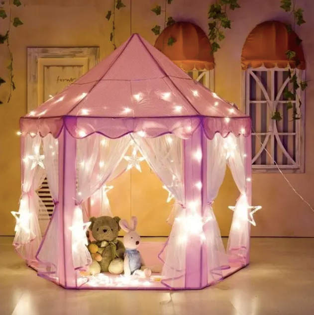 Princess play tent with fairy lights