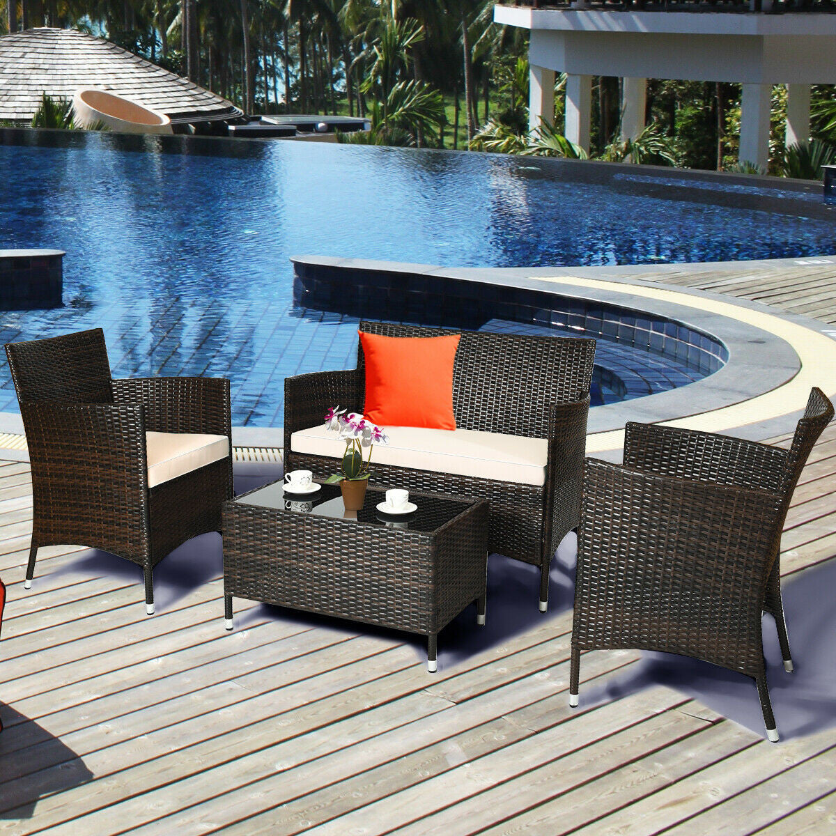 patio furniture set near the beach