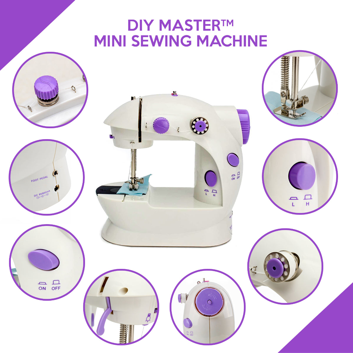 DIYMaster Mini Handheld Portable Sewing Machine for DIY, Beginners, and Kids convenient
