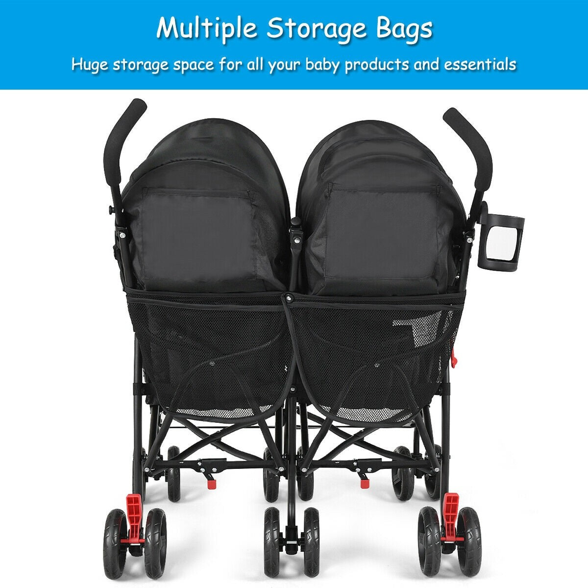 double umbrella stroller lots of storage