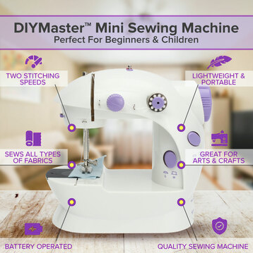 DIYMaster Mini Handheld Portable Sewing Machine for DIY, Beginners, and Kids