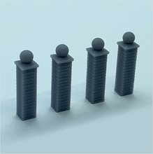 Load image into Gallery viewer, OO scale | Brick wall piers with ball-style caps (4 pack)