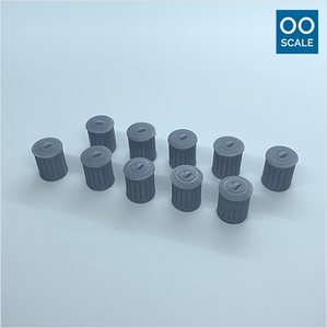 OO scale | Galvanised metal bin (10 pack)