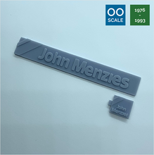 Load image into Gallery viewer, OO scale | 1976 John Menzies shop sign set (2 piece)