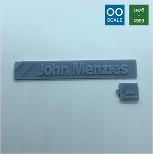 OO scale | 1976 John Menzies shop sign set (2 piece)