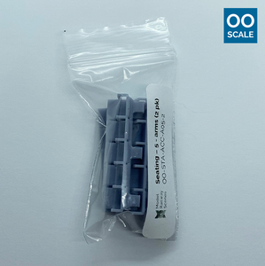 OO scale | Station seating - row of 5 - with arms (4 pack)