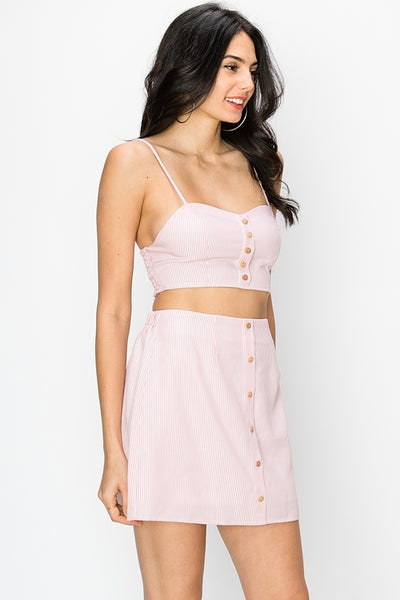 Pastels, High Waisted Skirt and Crop Top Sets, Pink Outfit, Summer Outfit, Spring Outfit, Vacation Outfit, Spaghetti Top, Sunny Day Outfit, Beach Outfit, Sun Dress