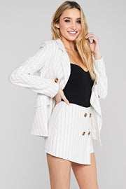 High Waisted Skort and Crop Top, Set Outfit, Party Outfit, Summer Outfit, Spring Outfit, Vacation Outfit, Blazer, Cape, Corporate Outfit, Fashionable Outfit, Sunny Day Outfit, Beach Outfit, Sun Dress, Wedding Outfit, Set, White, Stripe, Skort, Short, Blazer Set
