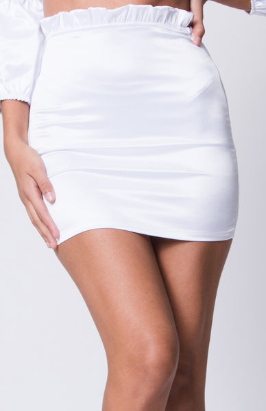 Crop, Crop Top and High Waisted Skirt, White Outfit, Sets, Satin, Silk,Tube Dress, Off Shoulder Dress, One Shoulder Dress, Low Cut, Dressy, Dress, Side Slit, Party Dress, Wedding Outfit, Party Outfit, Sun Dress, Club Wear, Dinner Outfit, Casual, Beach Wear, Vacation Outfit, Mini Dress, Fashionable Dress