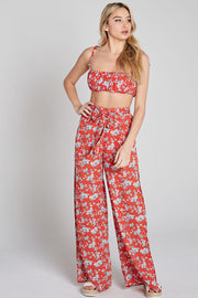 High Waisted Pants and Crop Top Sets, Floral Outfit, Summer Outfit, Spring Outfit, Vacation Outfit, Spaghetti Top, Sunny Day Outfit, Beach Outfit