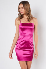 80's Vibes | Magenta Mini Satin Fitted Dress
