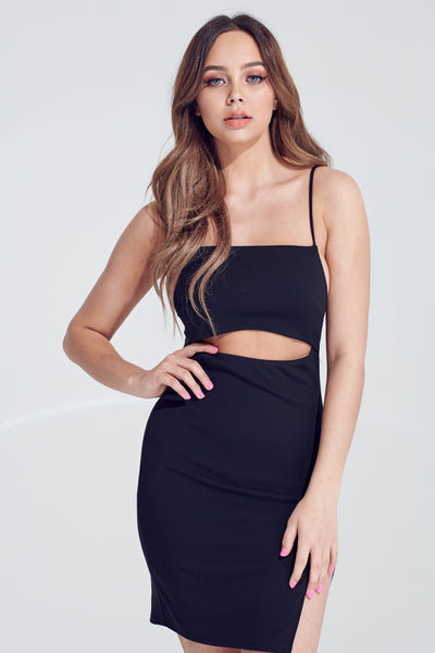 Black Dress, Dressy, Spaghetti Dress, Side Slit, Party Dress, Wedding Outfit, Party Outfit, Sun Dress, Club Wear, Dinner Outfit, Casual, Beach Wear, Vacation Outfit, Mini Dress, Fashionable Dress