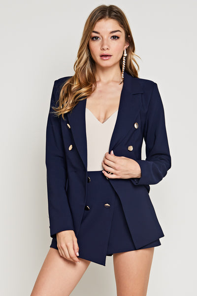 High Waisted Skort and Crop Top, Set Outfit, Party Outfit, Summer Outfit, Spring Outfit, Vacation Outfit, Blazer, Cape, Corporate Outfit, Fashionable Outfit, Sunny Day Outfit, Beach Outfit, Sun Dress, Wedding Outfit, Set, White, Stripe, Skort, Short, Blazer Set, Navy