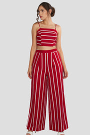 Stripe, High Waisted Pants and Crop Top Sets, Flower Outfit, Summer Outfit, Spring Outfit, Vacation Outfit, Spaghetti Top, Sunny Day Outfit, Beach Outfit