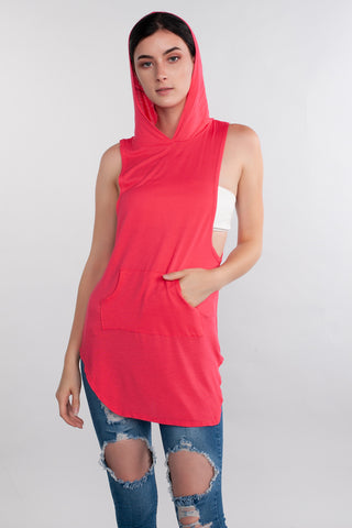 Casual Wear, Top, Tank Top, Side Slit. Fitness Wear, Active Wear, Hot Pink
