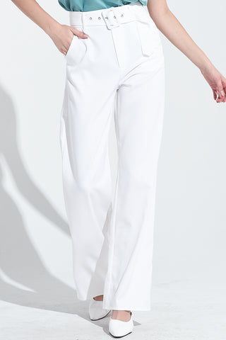 Pants, Wide Leg Pants, All White, Pants with Belt, Pocket Pants, Bottoms